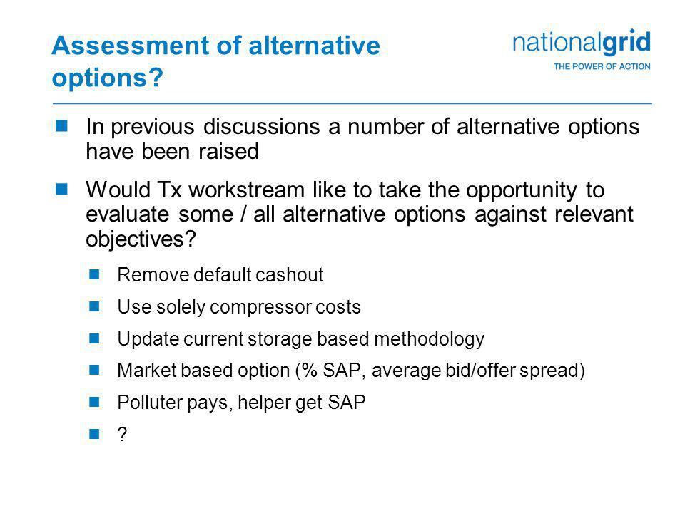 Assessment of alternative options?  In previous discussions a number of alternative options have been raised  Would Tx workstream like to take the o