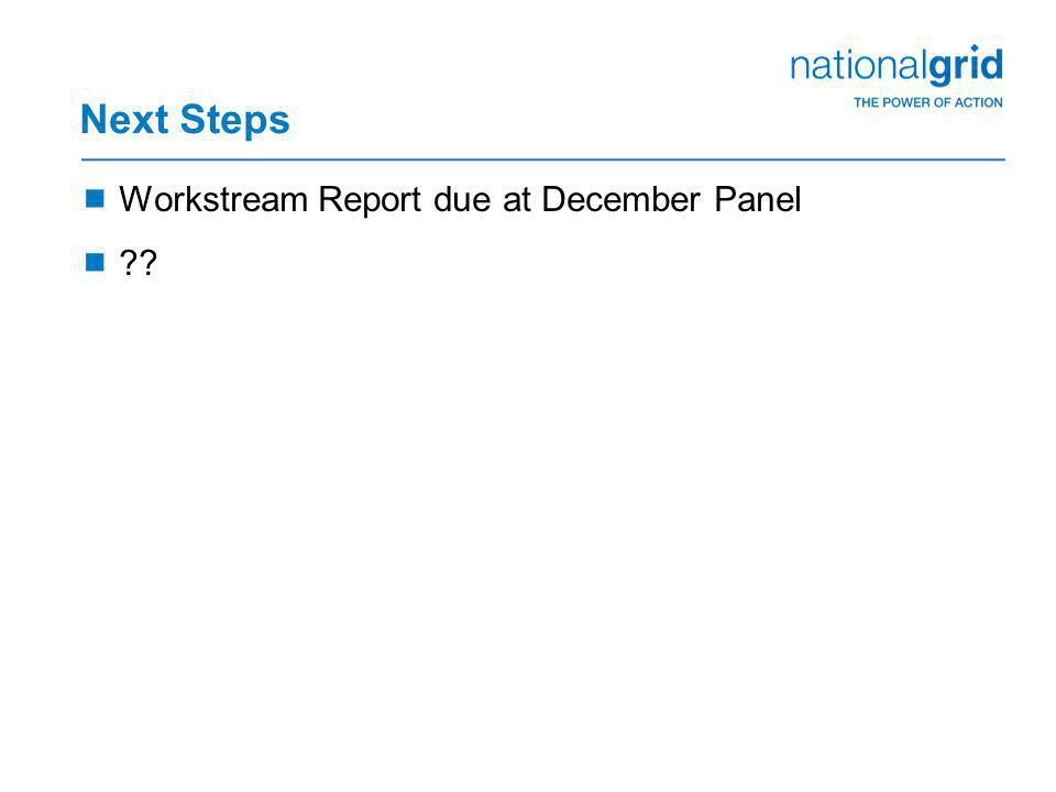 Next Steps  Workstream Report due at December Panel  ??