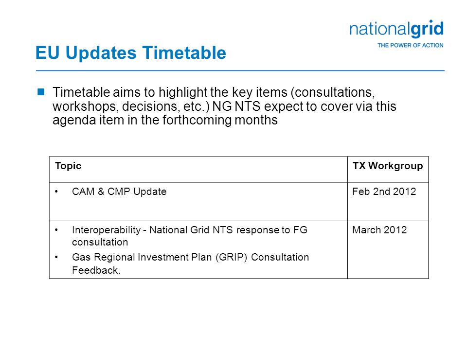 EU Updates Timetable  Timetable aims to highlight the key items (consultations, workshops, decisions, etc.) NG NTS expect to cover via this agenda item in the forthcoming months TopicTX Workgroup CAM & CMP UpdateFeb 2nd 2012 Interoperability - National Grid NTS response to FG consultation Gas Regional Investment Plan (GRIP) Consultation Feedback.