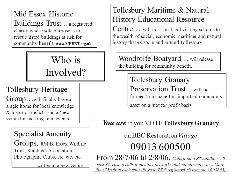 Who is Involved? Mid Essex Historic Buildings Trust …a registered charity whose sole purpose is to rescue listed buildings at risk for community benef