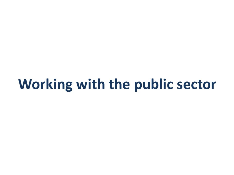 Working with the public sector