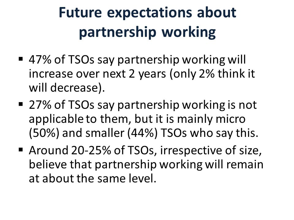 Future expectations about partnership working  47% of TSOs say partnership working will increase over next 2 years (only 2% think it will decrease).