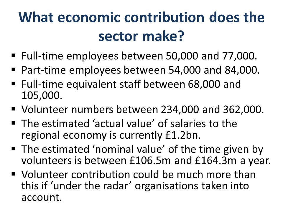 What economic contribution does the sector make.  Full-time employees between 50,000 and 77,000.