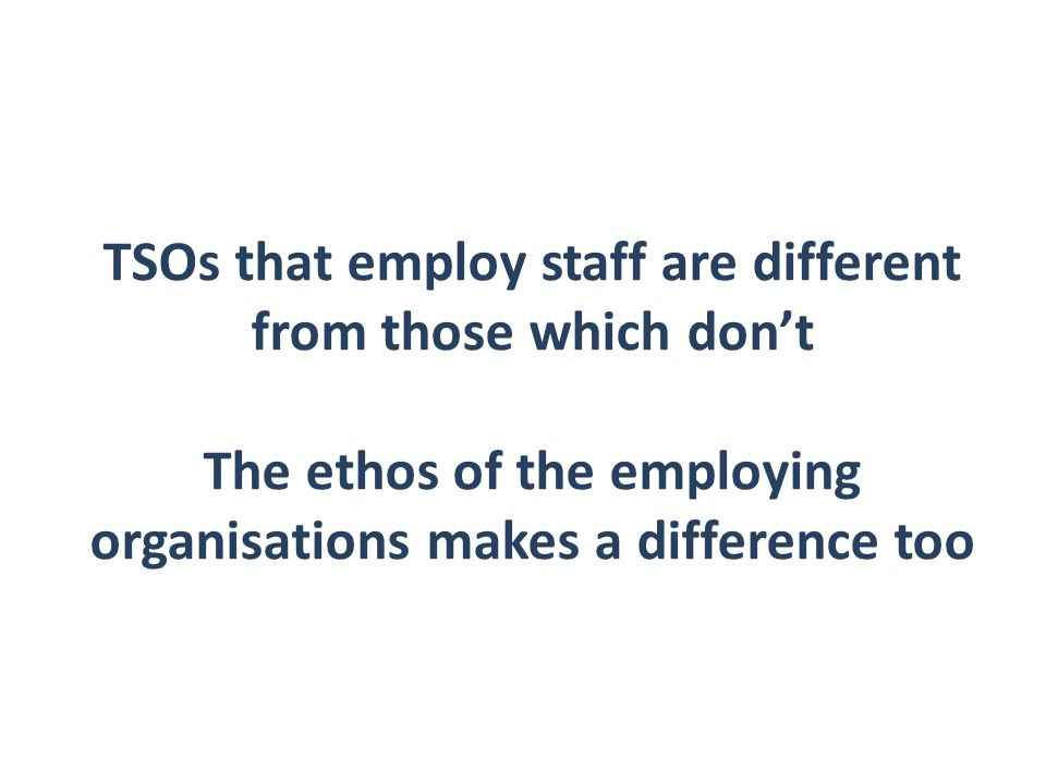 Smaller TSOs  Do not employ staff - purely voluntary.