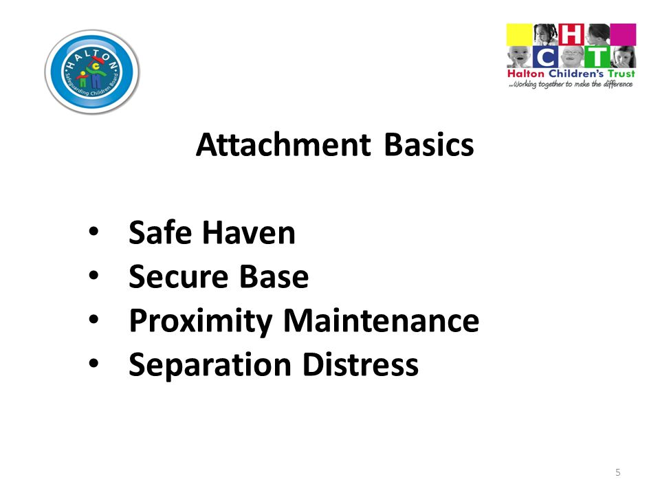 5 Attachment Basics Safe Haven Secure Base Proximity Maintenance Separation Distress