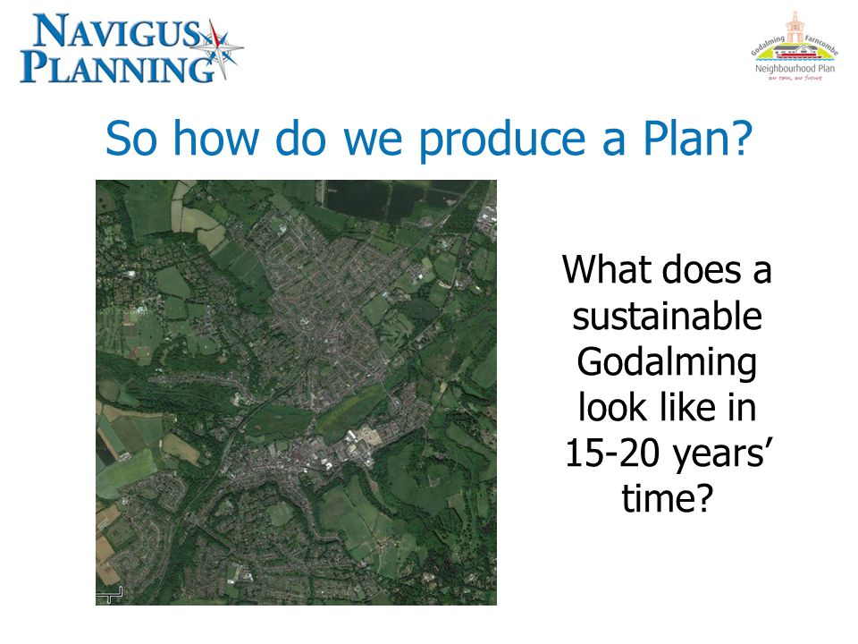So how do we produce a Plan? What does a sustainable Godalming look like in 15-20 years' time?