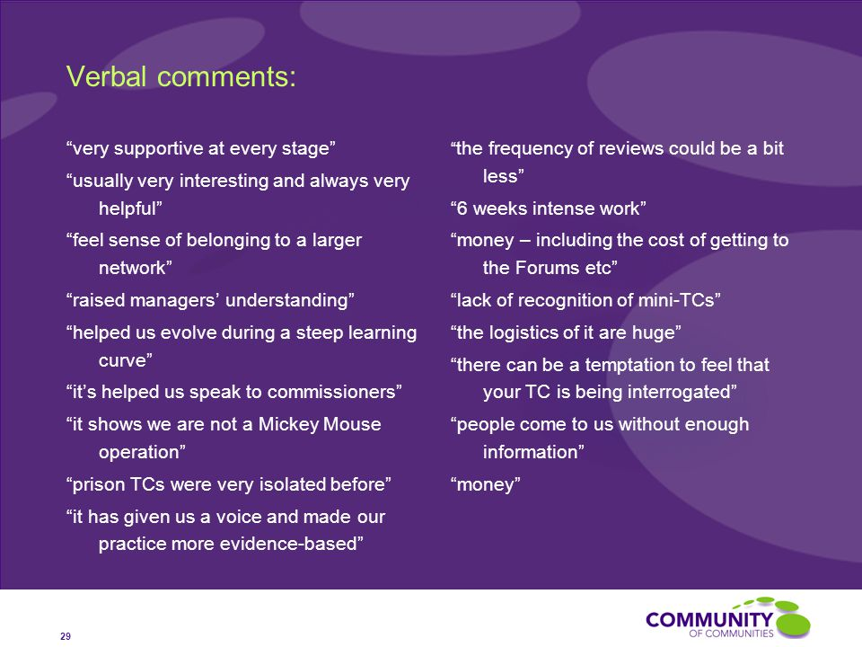 Verbal comments: very supportive at every stage usually very interesting and always very helpful feel sense of belonging to a larger network raised managers' understanding helped us evolve during a steep learning curve it's helped us speak to commissioners it shows we are not a Mickey Mouse operation prison TCs were very isolated before it has given us a voice and made our practice more evidence-based the frequency of reviews could be a bit less 6 weeks intense work money – including the cost of getting to the Forums etc lack of recognition of mini-TCs the logistics of it are huge there can be a temptation to feel that your TC is being interrogated people come to us without enough information money 29