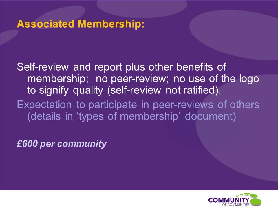 Associated Membership: Self-review and report plus other benefits of membership; no peer-review; no use of the logo to signify quality (self-review not ratified).