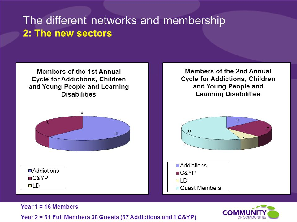 The different networks and membership 2: The new sectors Year 1 = 16 Members Year 2 = 31 Full Members 38 Guests (37 Addictions and 1 C&YP)