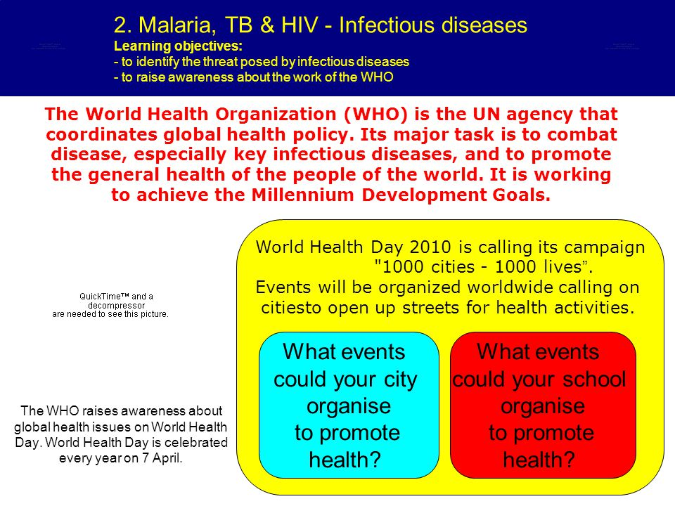 2. Malaria, TB & HIV - Infectious diseases Learning objectives: - to identify the threat posed by infectious diseases - to raise awareness about the w