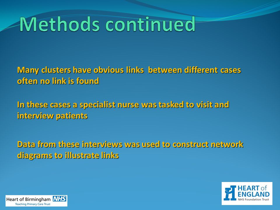 Many clusters have obvious links between different cases often no link is found Data from these interviews was used to construct network diagrams to i