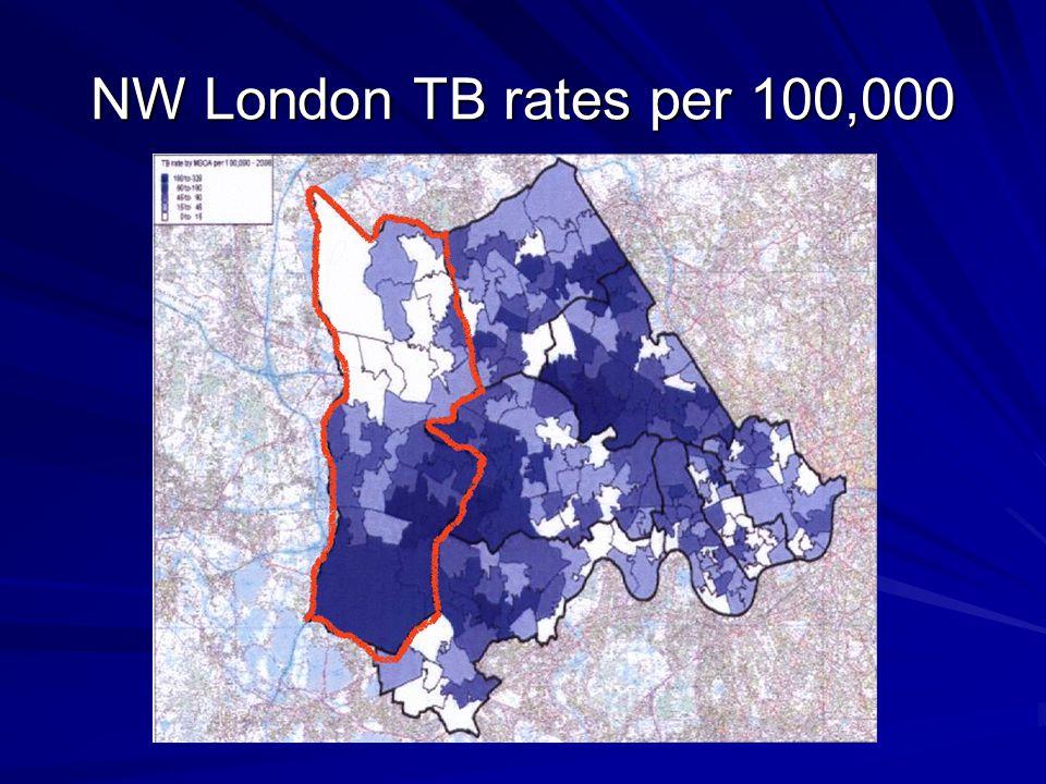 NW London TB rates per 100,000