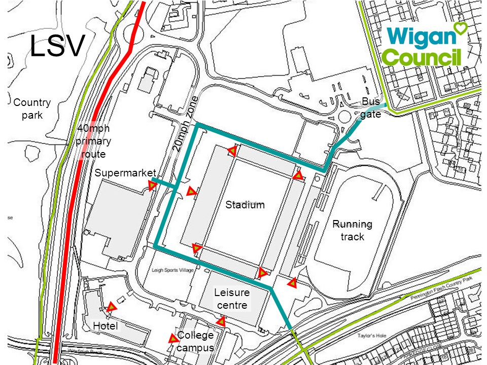 LSV Supermarket 40mph primary route Stadium Running track Leisure centre College campus Hotel Country park 20mph zone Bus gate