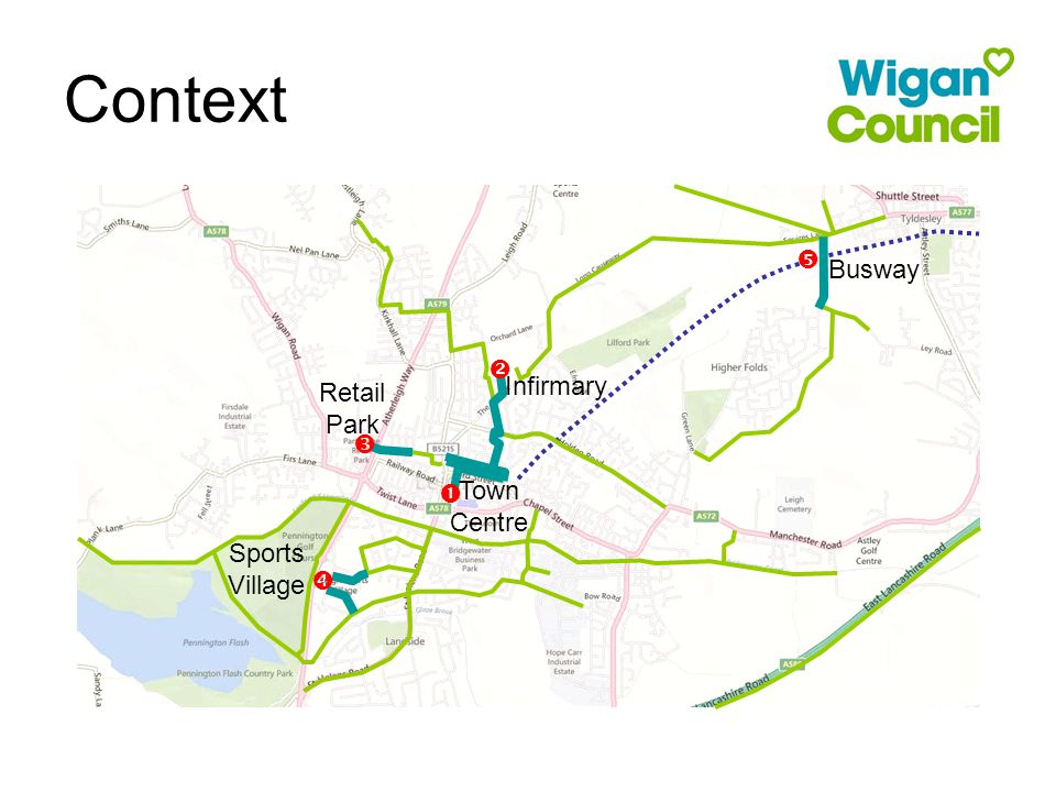 Context  Town Centre  Infirmary  Retail Park  Sports Village  Busway