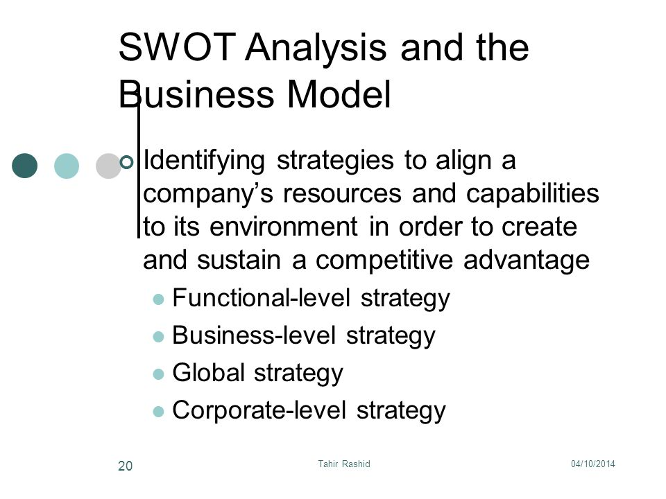 04/10/2014Tahir Rashid 20 SWOT Analysis and the Business Model Identifying strategies to align a company's resources and capabilities to its environment in order to create and sustain a competitive advantage Functional-level strategy Business-level strategy Global strategy Corporate-level strategy