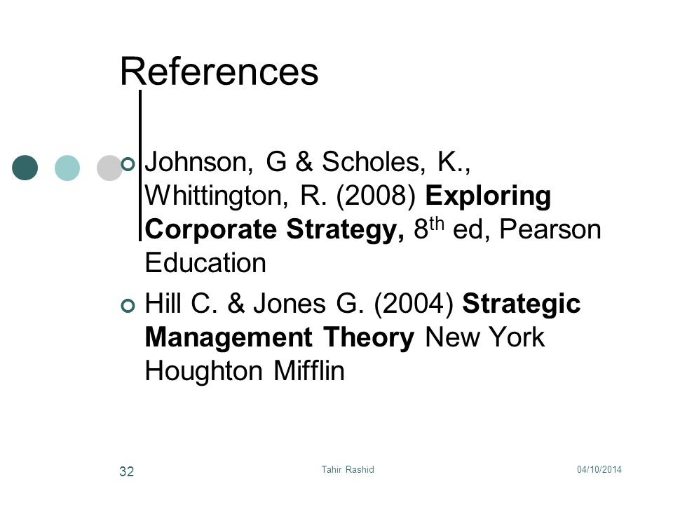 04/10/2014Tahir Rashid 32 References Johnson, G & Scholes, K., Whittington, R.