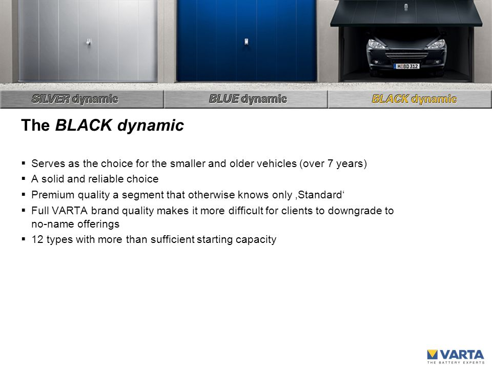 The BLACK dynamic  Serves as the choice for the smaller and older vehicles (over 7 years)  A solid and reliable choice  Premium quality a segment that otherwise knows only 'Standard'  Full VARTA brand quality makes it more difficult for clients to downgrade to no-name offerings  12 types with more than sufficient starting capacity