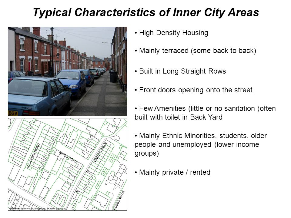 Typical Characteristics of Inner City Areas High Density Housing Mainly terraced (some back to back) Built in Long Straight Rows Front doors opening o