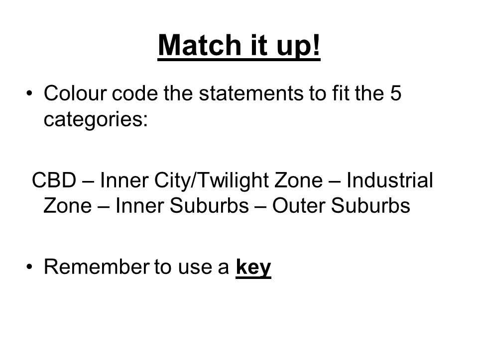 Match it up! Colour code the statements to fit the 5 categories: CBD – Inner City/Twilight Zone – Industrial Zone – Inner Suburbs – Outer Suburbs Reme