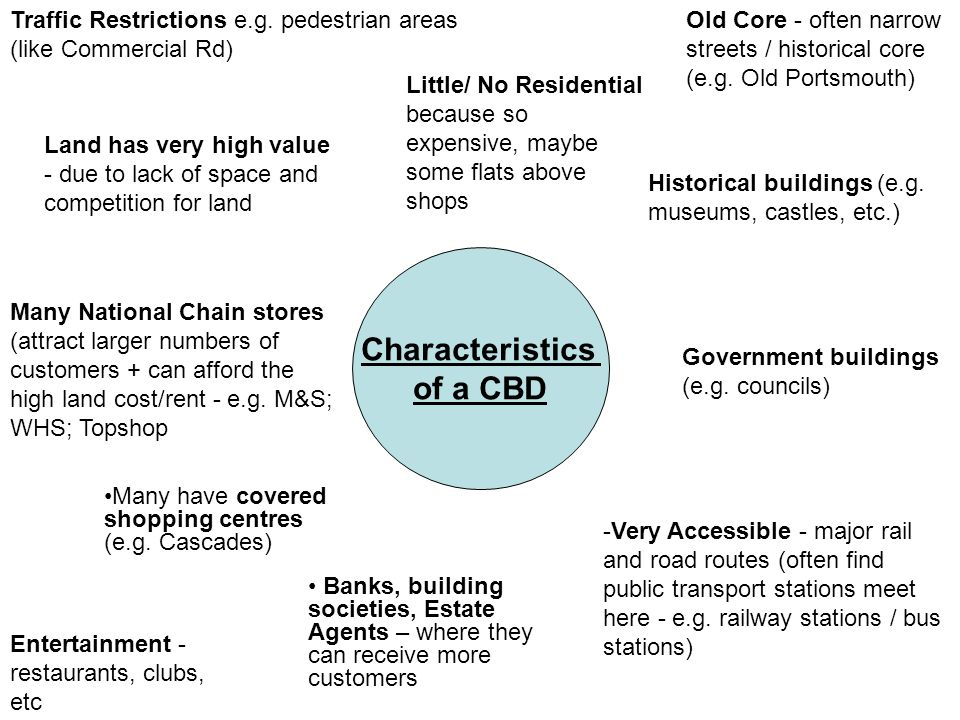 Characteristics of a CBD Old Core - often narrow streets / historical core (e.g. Old Portsmouth) -Very Accessible - major rail and road routes (often