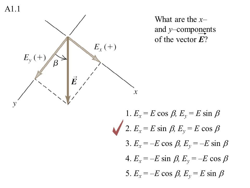 What are the x– and y–components of the vector E.1.