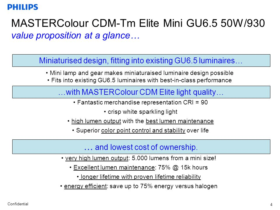 Confidential5 MASTERColour CDM-Tm Elite Mini GU6.5 50W/930 technical specifications … Remarks: EL gear with EOL protection only.