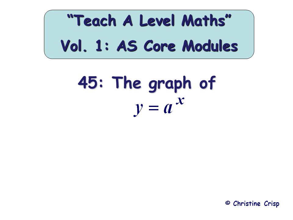 45: The graph of © Christine Crisp Teach A Level Maths Vol. 1: AS Core Modules