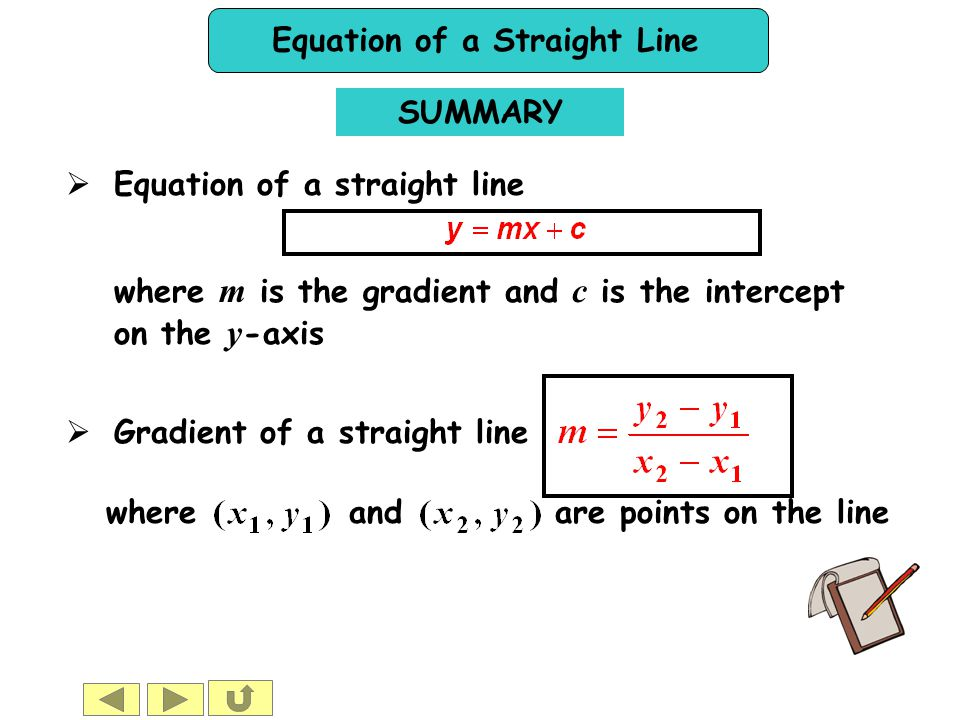 Equation of a Straight Line SUMMARY  Equation of a straight line  Gradient of a straight line where and are points on the line where m is the gradie