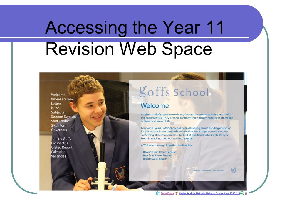 Accessing the Year 11 Revision Web Space
