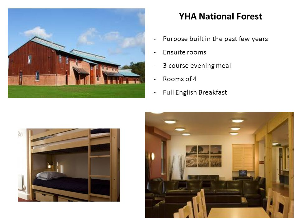 YHA National Forest -Purpose built in the past few years -Ensuite rooms -3 course evening meal -Rooms of 4 -Full English Breakfast