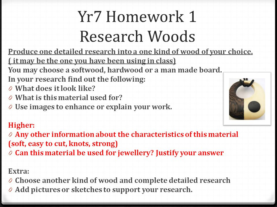 Yr7 Homework 1 Research Woods Produce one detailed research into a one kind of wood of your choice.