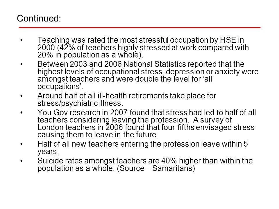 Continued: Teaching was rated the most stressful occupation by HSE in 2000 (42% of teachers highly stressed at work compared with 20% in population as a whole).
