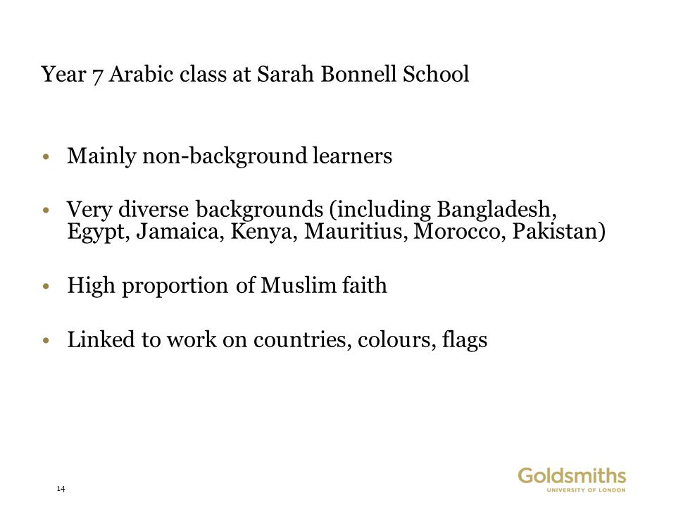 14 Year 7 Arabic class at Sarah Bonnell School Mainly non-background learners Very diverse backgrounds (including Bangladesh, Egypt, Jamaica, Kenya, Mauritius, Morocco, Pakistan) High proportion of Muslim faith Linked to work on countries, colours, flags