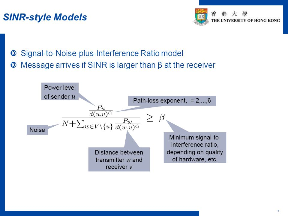 Problems Studied under SINR Model *  Problems Studied -- Dominating set -- Local broadcast -- Broadcast and Multiple-message broadcast -- Data aggregation and collection -- Capacity and link scheduling -- Connectivity -- Coloring -- Many others Most Work are done in single-channel networks