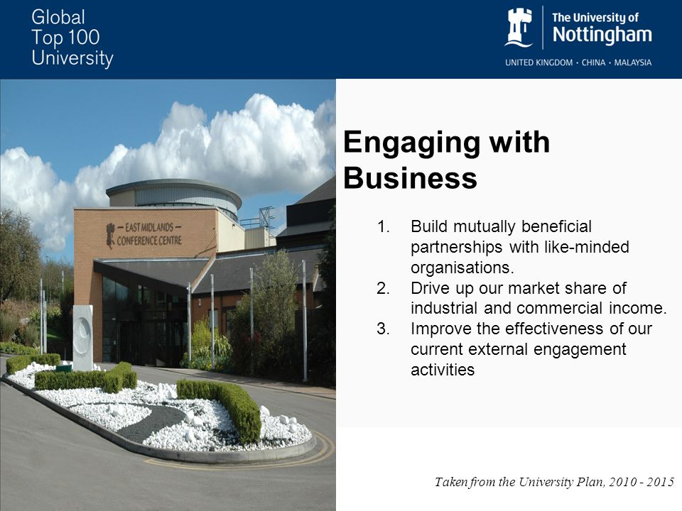 Engaging with Business 1.Build mutually beneficial partnerships with like-minded organisations.