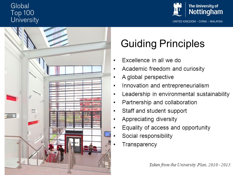 Excellence in all we do Academic freedom and curiosity A global perspective Innovation and entrepreneurialism Leadership in environmental sustainability Partnership and collaboration Staff and student support Appreciating diversity Equality of access and opportunity Social responsibility Transparency Taken from the University Plan, 2010 - 2015 Guiding Principles