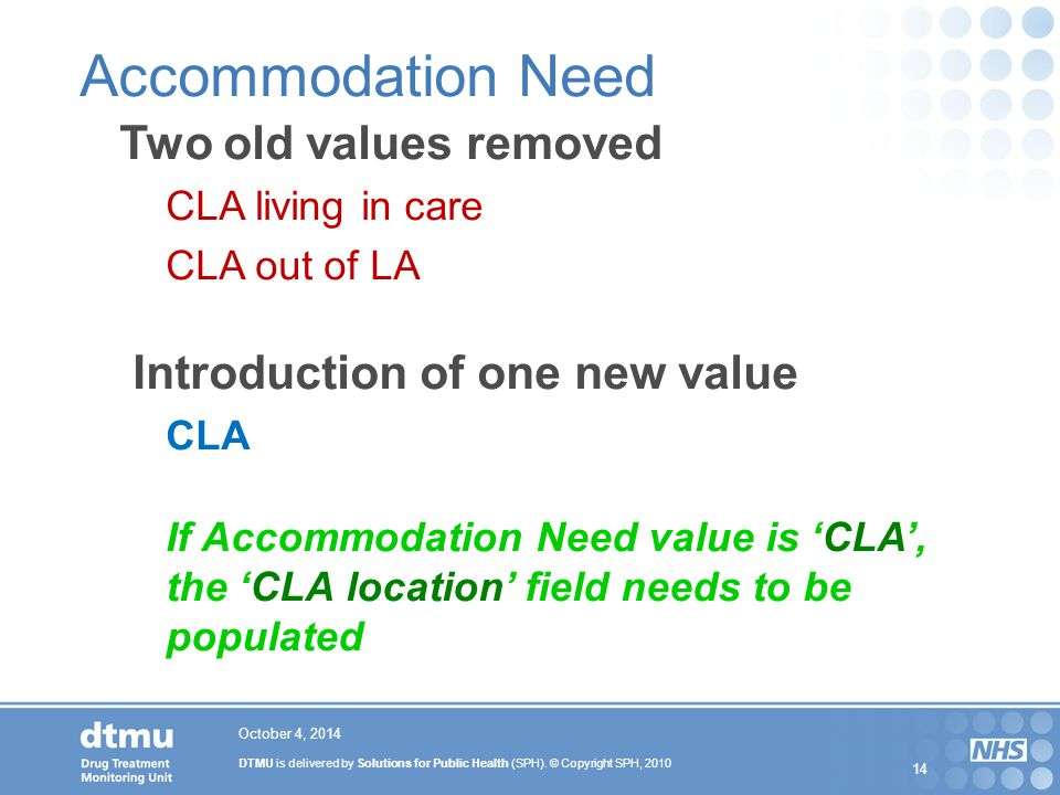DTMU is delivered by Solutions for Public Health (SPH). © Copyright SPH, 2010 14 October 4, 2014 Accommodation Need Two old values removed CLA living