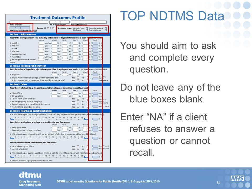 DTMU is delivered by Solutions for Public Health (SPH). © Copyright SPH, 2010 81 TOP NDTMS Data You should aim to ask and complete every question. Do