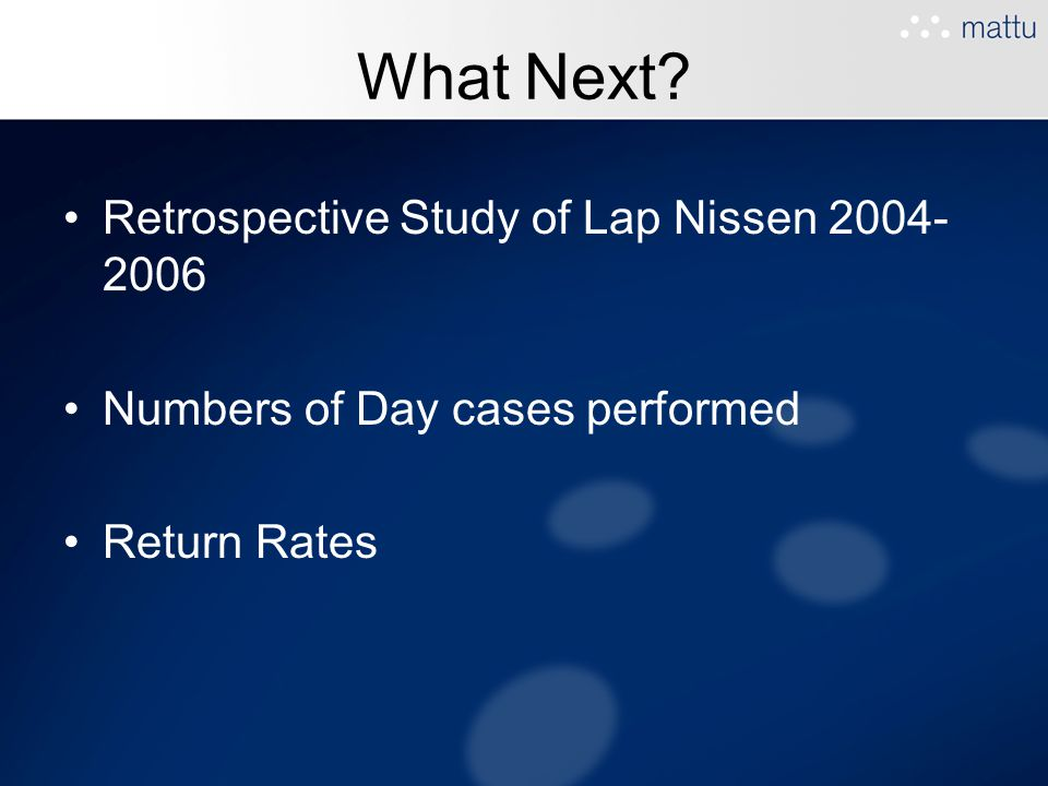 What Next? Retrospective Study of Lap Nissen 2004- 2006 Numbers of Day cases performed Return Rates