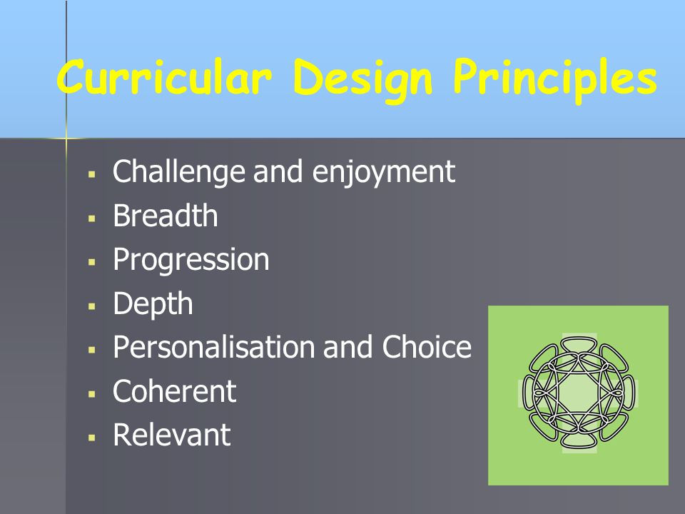 Curricular Design Principles  Challenge and enjoyment  Breadth  Progression  Depth  Personalisation and Choice  Coherent  Relevant