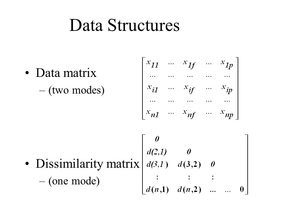 Data Structures Data matrix –(two modes) Dissimilarity matrix –(one mode)