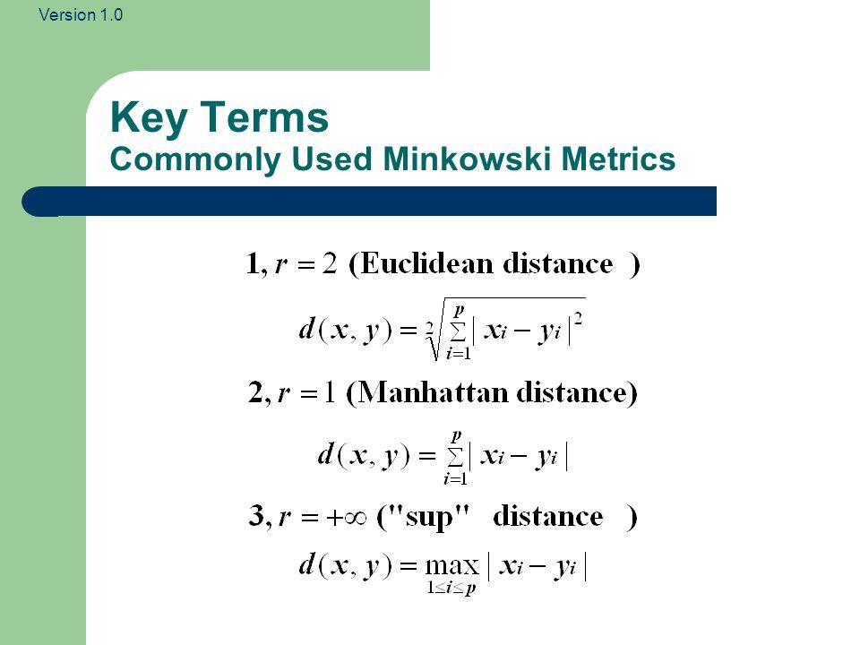 Version 1.0 Key Terms Commonly Used Minkowski Metrics