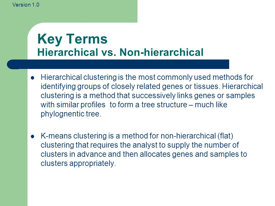 Version 1.0 Key Terms Hierarchical vs. Non-hierarchical Hierarchical clustering is the most commonly used methods for identifying groups of closely re