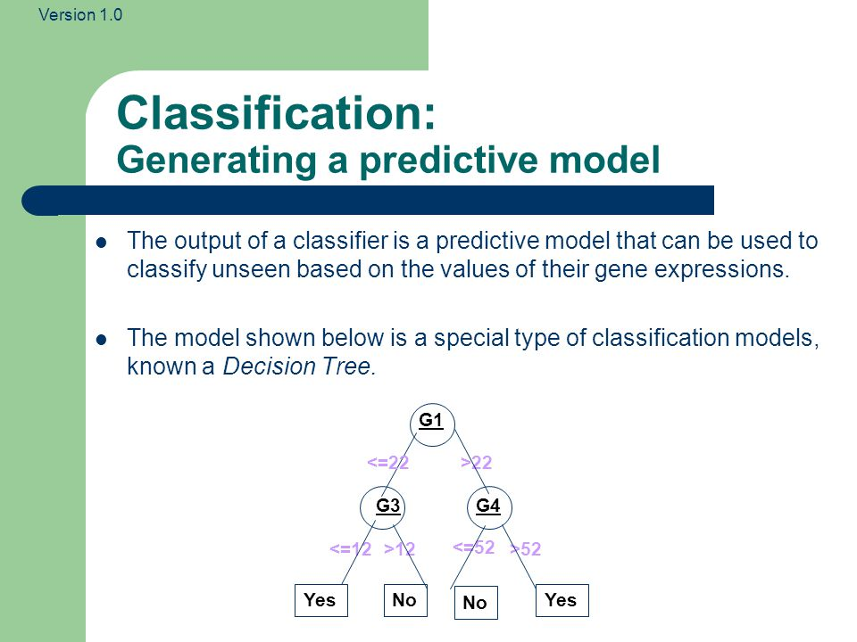 Version 1.0 Classification: Generating a predictive model The output of a classifier is a predictive model that can be used to classify unseen based on the values of their gene expressions.