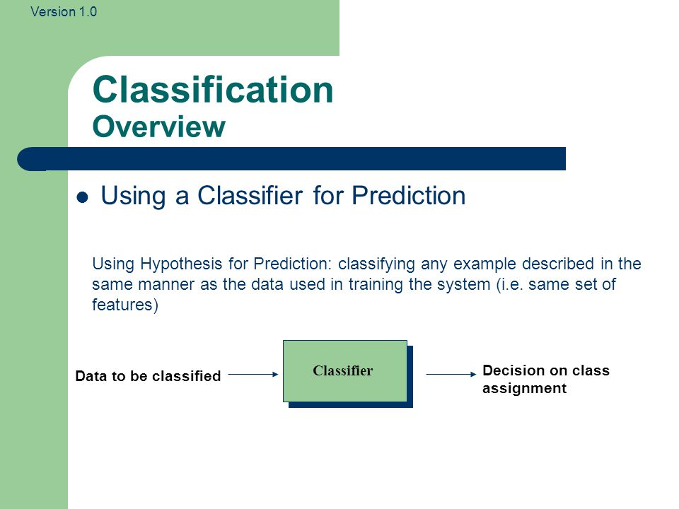 Version 1.0 Classification Overview Using a Classifier for Prediction Data to be classified Classifier Decision on class assignment Using Hypothesis for Prediction: classifying any example described in the same manner as the data used in training the system (i.e.