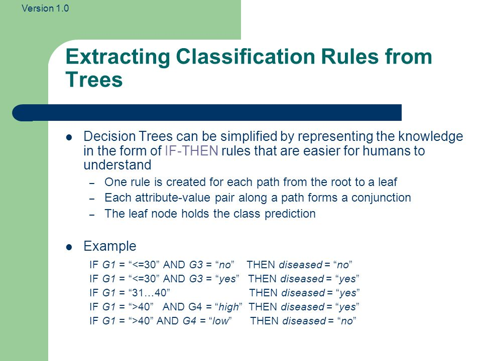 Version 1.0 Extracting Classification Rules from Trees Decision Trees can be simplified by representing the knowledge in the form of IF-THEN rules tha