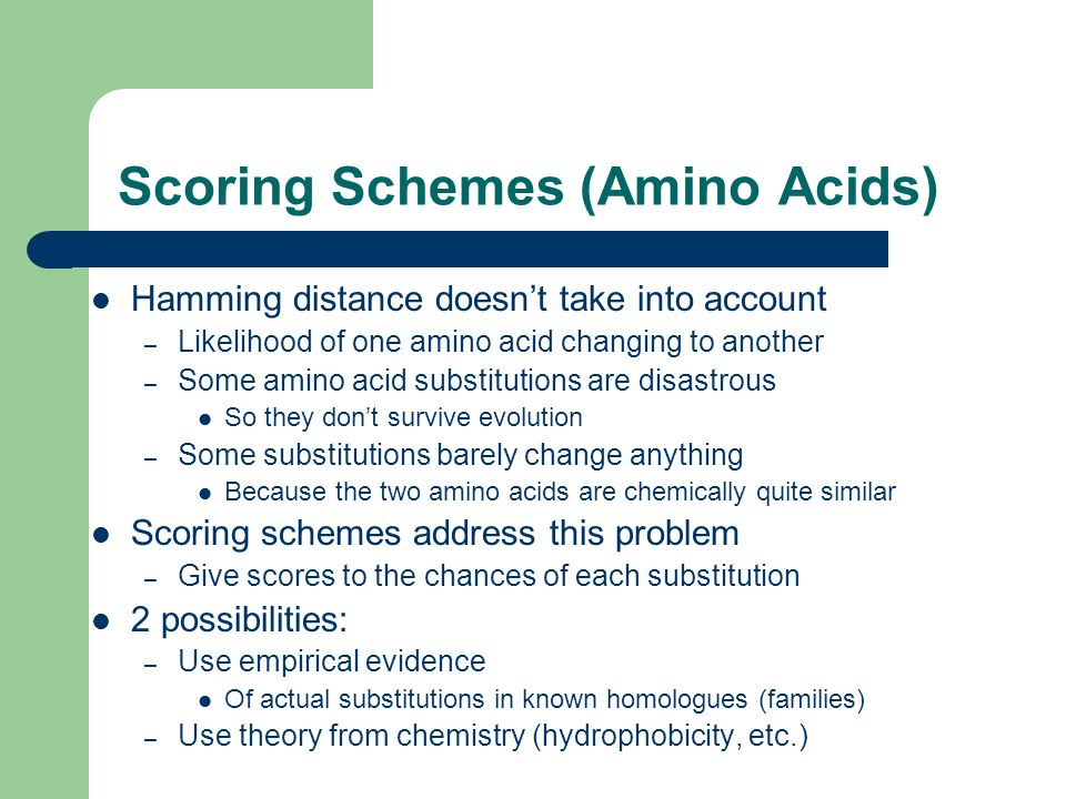Scoring Schemes (Amino Acids) Hamming distance doesn't take into account – Likelihood of one amino acid changing to another – Some amino acid substitutions are disastrous So they don't survive evolution – Some substitutions barely change anything Because the two amino acids are chemically quite similar Scoring schemes address this problem – Give scores to the chances of each substitution 2 possibilities: – Use empirical evidence Of actual substitutions in known homologues (families) – Use theory from chemistry (hydrophobicity, etc.)