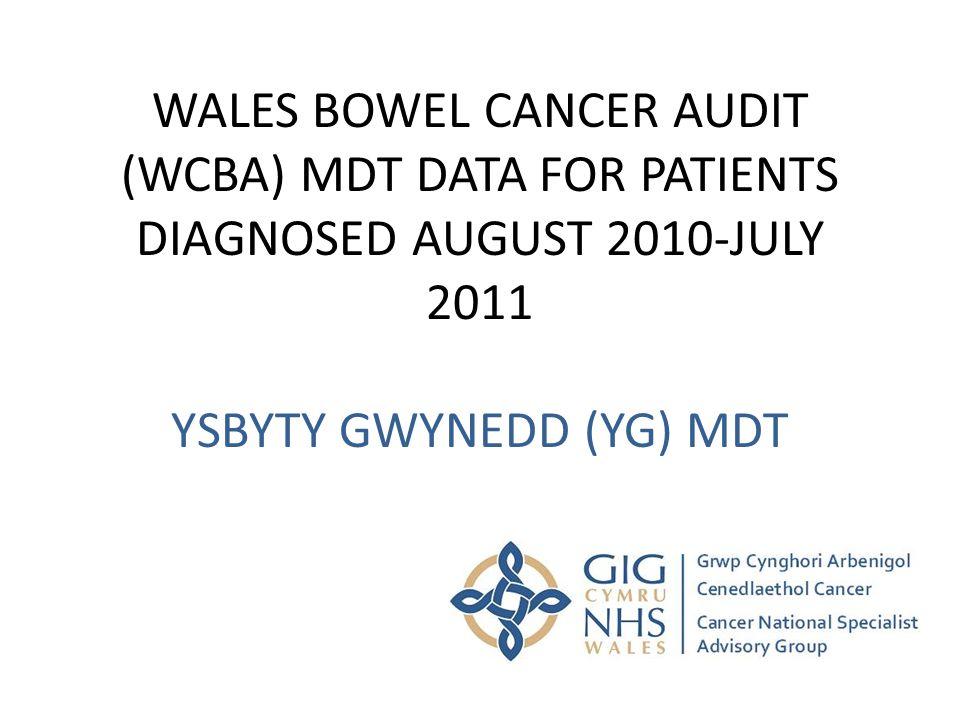 WALES BOWEL CANCER AUDIT (WCBA) MDT DATA FOR PATIENTS DIAGNOSED AUGUST 2010-JULY 2011 YSBYTY GWYNEDD (YG) MDT