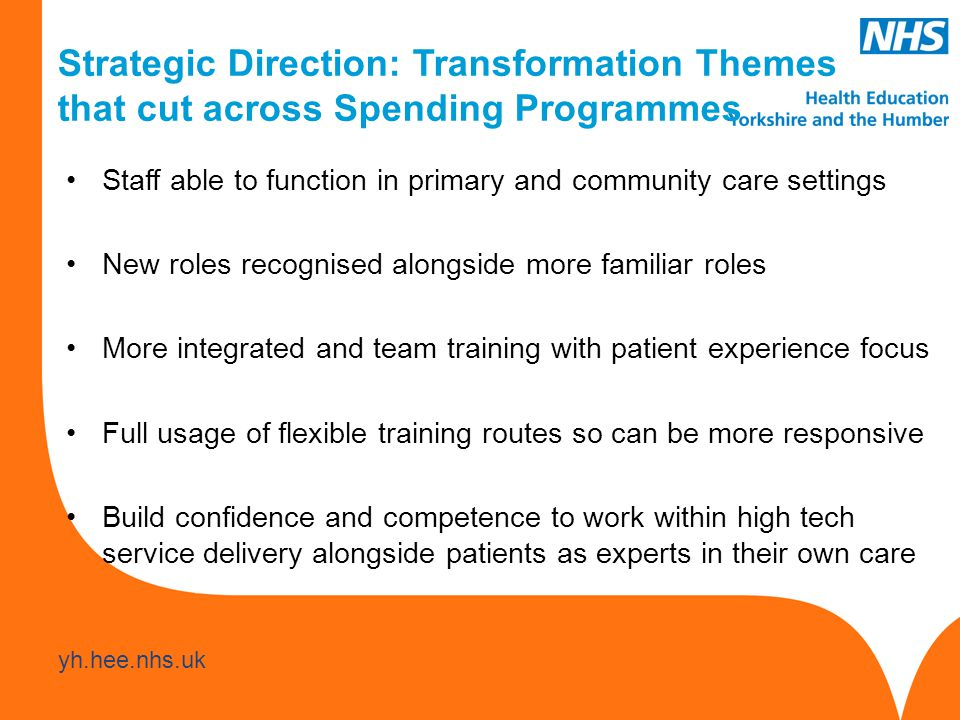 www.hee.nhs.uk yh.hee.nhs.uk Staff able to function in primary and community care settings New roles recognised alongside more familiar roles More integrated and team training with patient experience focus Full usage of flexible training routes so can be more responsive Build confidence and competence to work within high tech service delivery alongside patients as experts in their own care Strategic Direction: Transformation Themes that cut across Spending Programmes