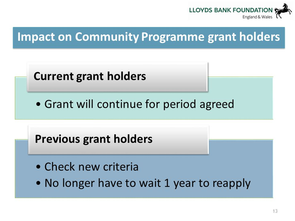 13 Impact on Community Programme grant holders Grant will continue for period agreed Current grant holders Check new criteria No longer have to wait 1 year to reapply Previous grant holders